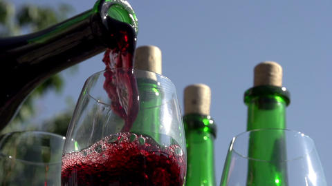 Pouring Red Wine in Goblet Footage