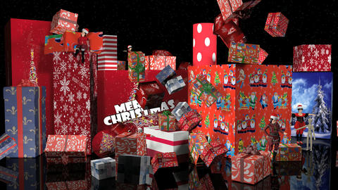 Elf Sitting With Crashing Gifts For Christmas stock footage