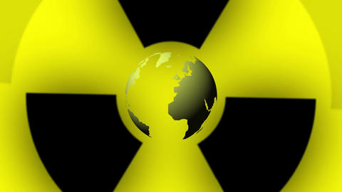 Pulsing Radiation Symbol and Earth Globe Animation