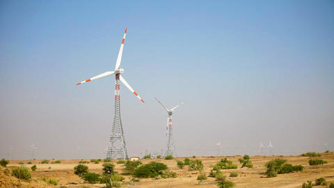 Wind power generators. Indian desert Footage