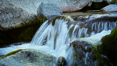 Mountain stream with clean cold water Footage