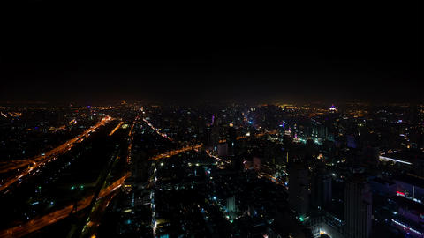 City at night - view from the top. Bangkok. Thaila Footage