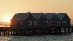 Sun Setting Behind The Busselton Jetty Interpretiv stock footage