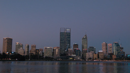 Perth City Skyline in the Last Light of the Day Footage