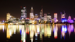 Time Lapse of Perth City Skyline Lights at Night Footage