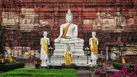 Buddha In Wat Yai Chaimongkhon. Thailand. Ayutthay stock footage