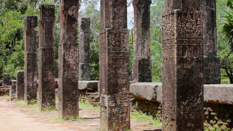 Columns of ancient ruined temple in Polonnaruwa Footage