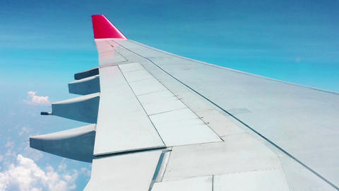 Airliner Wing - The View From The Cabin stock footage