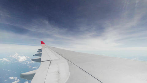 Wing of passenger airplane - view through the wind Footage