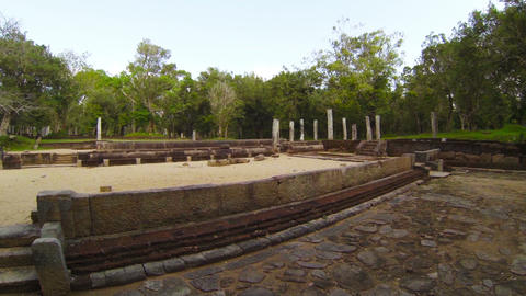 Ruins of an ancient Buddhist temple in Sri Lanka.  Footage