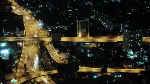 Car traffic in the night city. Thailand. Bangkok Footage