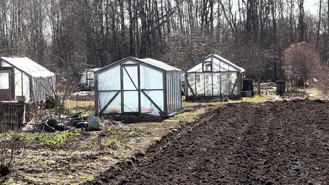 Some greenhouse on the field Footage