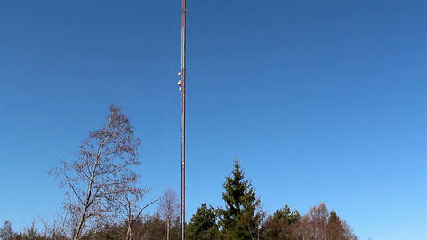 Tall Mobile Tower At The Roadside stock footage