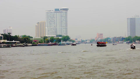 BANGKOK. THAILAND - APR 12: Boats and ships on wid Footage