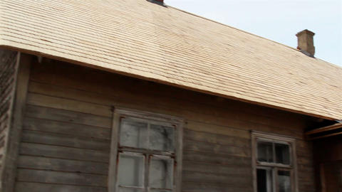 Wooden shingles from a cabin house Footage