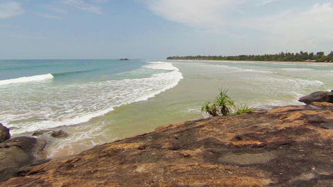 View from the cliffs on the deserted beach. Sri La Footage