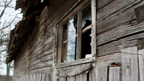 Wooden shingles from the wall of a house Footage
