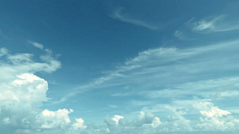 White Clouds In The Blue Sky. Timelapse In Soft Co stock footage