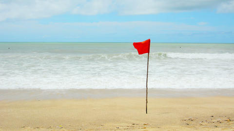 Storms season. Red warning flag on the beach - no  Footage