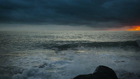 Stormy sky over the ocean at sunset Footage