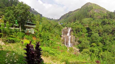 Large waterfall in the mountains. Sri Lanka. Nuwar Footage