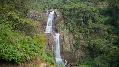 Tropical waterfall in Sri Lanka. Nuwara Eliya. Ram Footage