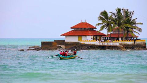 HIKKADUWA. SRI LANKA - APR 22: Boat transport for Footage