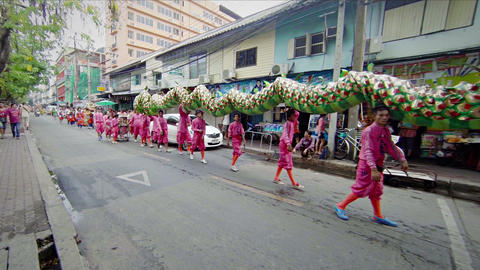 BANGKOK. THAILAND - APR 12: Street procession with Footage