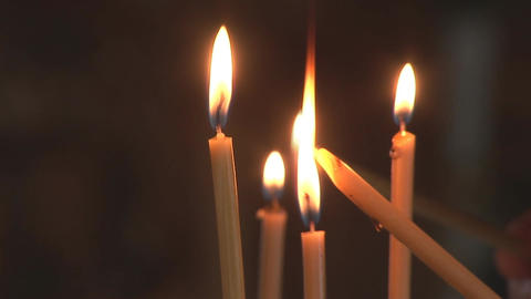 lighting candles Stock Video Footage