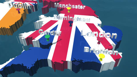 3D HD United Kingdom Map in the Sea with Place Names Stock Video Footage