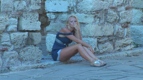 Nessebar girl 2 Stock Video Footage