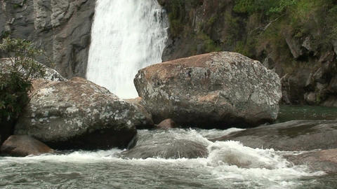Malawi: waterfall in a rock hill at noon 4 Stock Video Footage