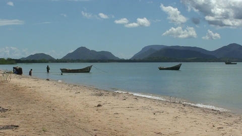 Malawi: african fishing boats in a lake 2 Footage