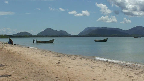 Malawi: african fishing boats in a lake 2 Stock Video Footage