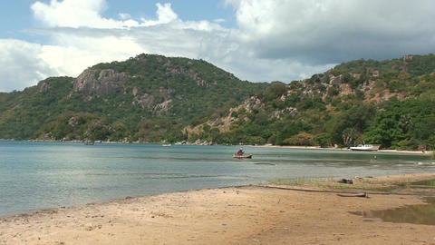Malawi: beach, lake and hill Stock Video Footage