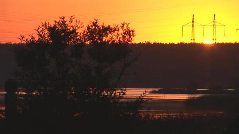 sunset power line 2 Footage