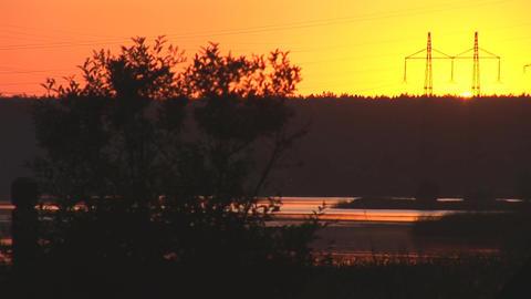 sunset power line 2 Stock Video Footage