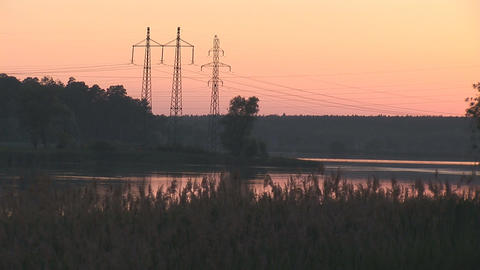 sunset power line 4 Footage