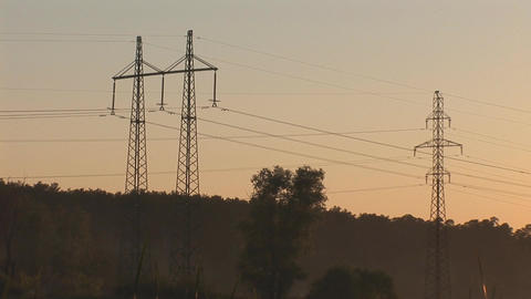 sunset power line 8 Stock Video Footage