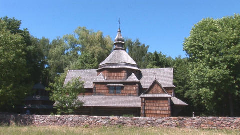 wooden church 1 Stock Video Footage
