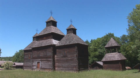 wooden church 3 Stock Video Footage