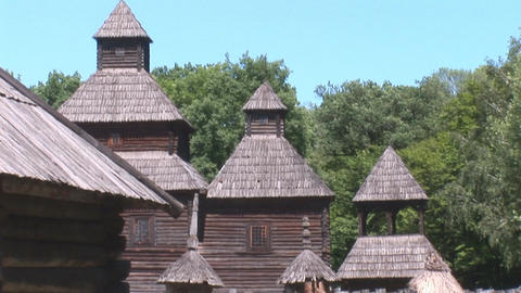 wooden church 5 Stock Video Footage