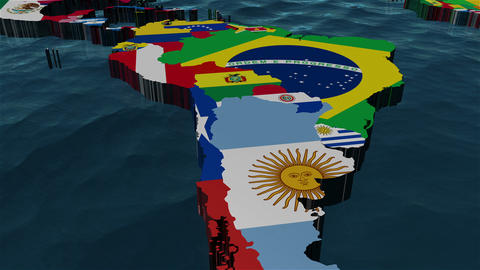 3D World Map to South America with clouds Stock Video Footage