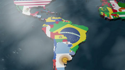 3D World Map to South America with clouds Animation