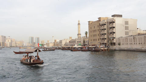 Dubai Creek Seen From Boat Footage