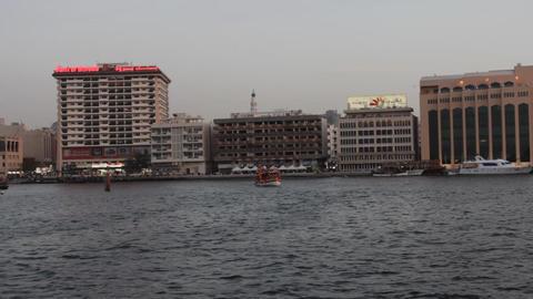 Dubai Creek Seen From Boat Stock Video Footage