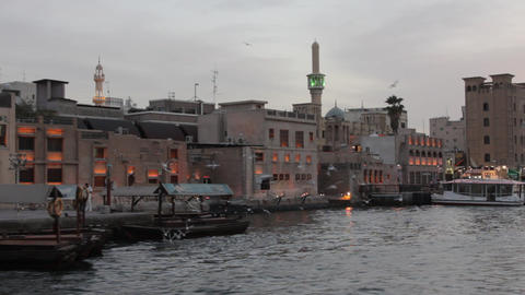 Dubai Creek Seen From Boat Stock Video Footage