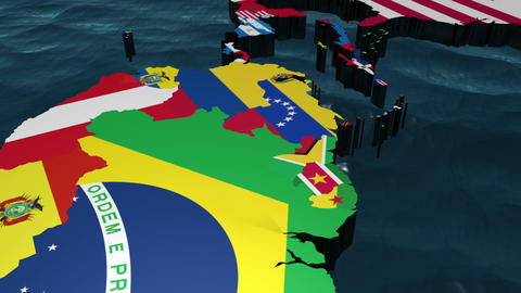 3D Map Pan through the Americas with Flags Animation