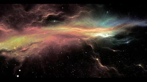 Nebula through stars Stock Video Footage