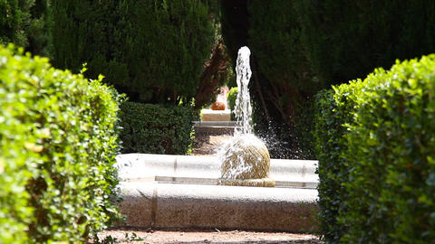 European Park Fountain 3 in 1 Stock Video Footage